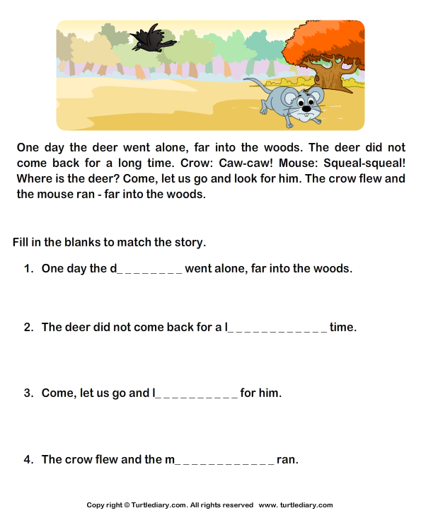 fill in the blanks from comprehension mouse crow and deer worksheet turtle diary. Black Bedroom Furniture Sets. Home Design Ideas