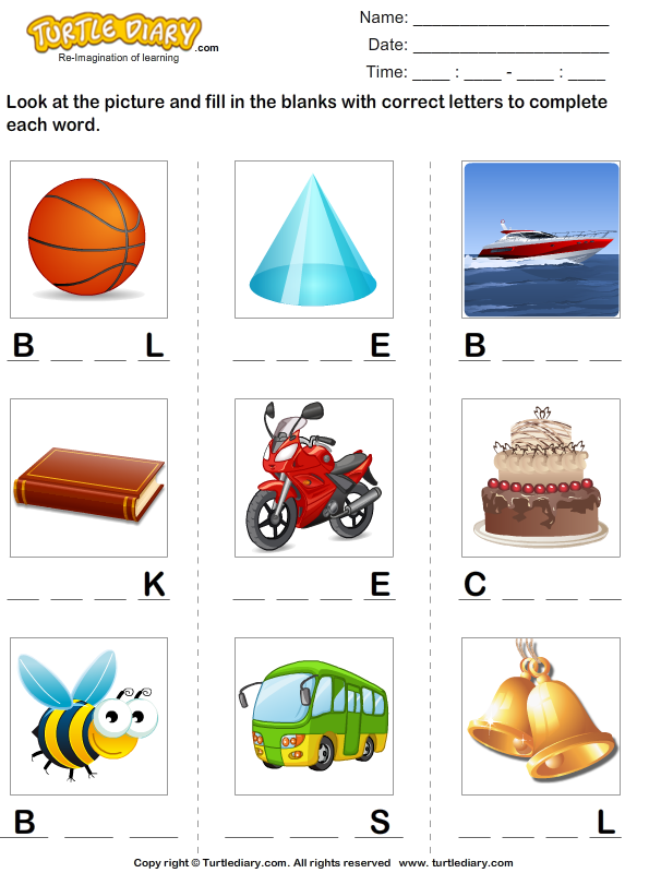Fill in the Blanks with Correct Letters Worksheet - Turtle Diary