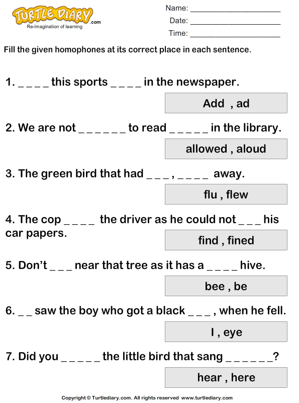 Fill in the Blanks with Homophones to Complete the Sentence – Complete Sentence Worksheet