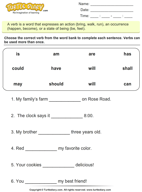 Fill in the Blanks with Is Am or Are Worksheet Turtle Diary – Fill in the Blanks Worksheets