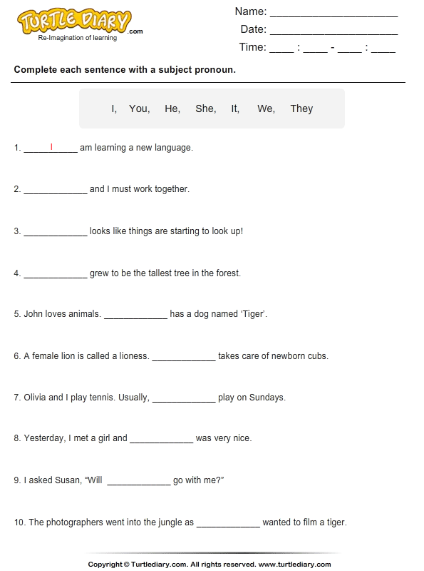 Complete the Sentence with a Subject Pronoun