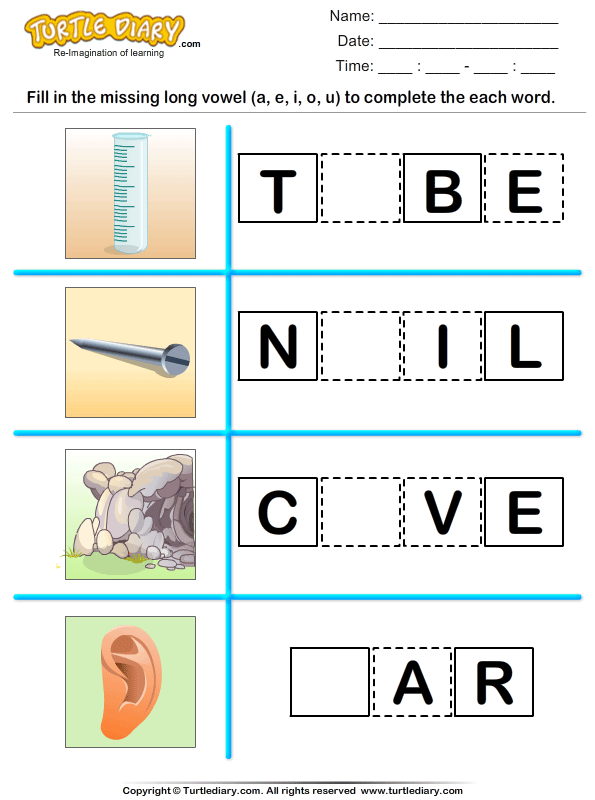 fill in the missing long vowel worksheet