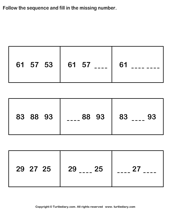 Fill in the Missing Numbers to Complete the Sequence Worksheet – Number Sequences Worksheet