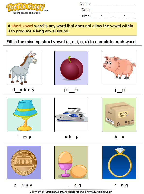 Write the Missing Short Vowel Worksheet - Turtle Diary
