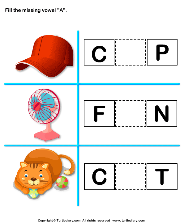 Fill in the Missing Vowel A Worksheet - Turtle Diary