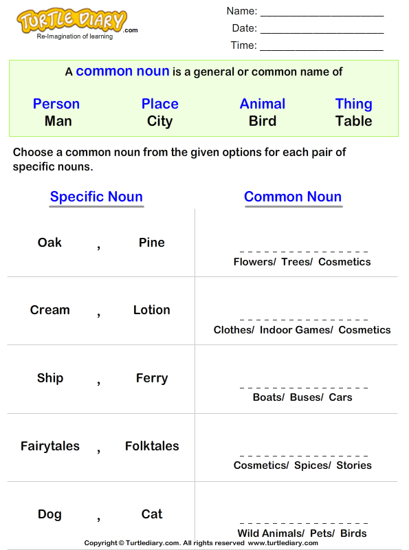 Write a Common Noun for Proper Nouns