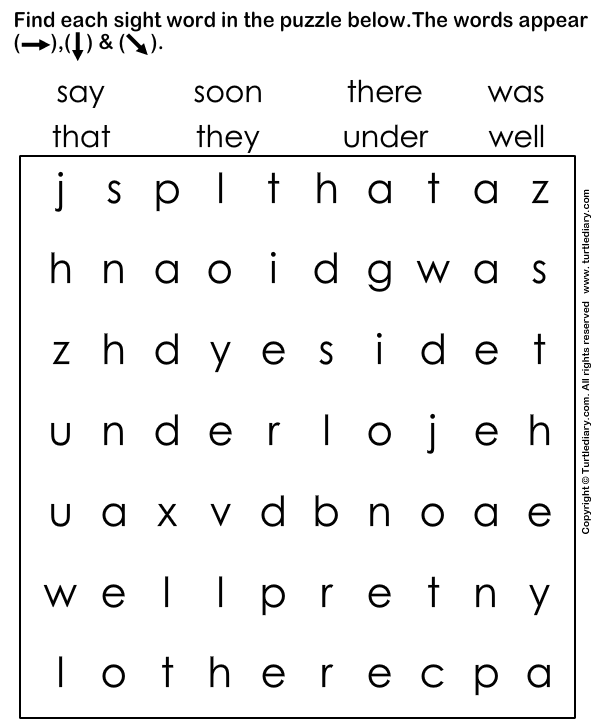 Find and Circle the Sight Words Worksheet Turtle Diary – Sight Word Worksheets