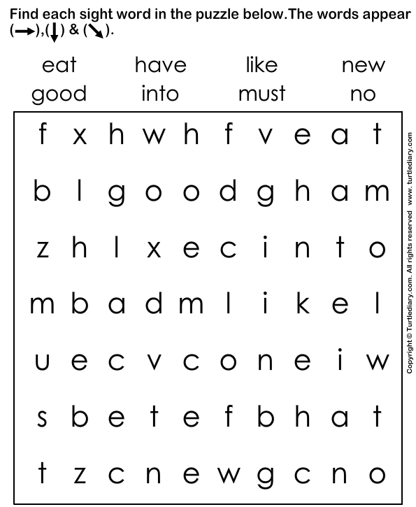 Number Names Worksheets printable sight words for kindergarten : Find Sight Words Worksheet - Turtle Diary
