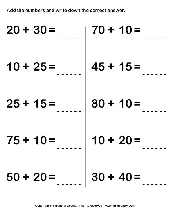 Find Sum of Two Two Digit Numbers using Regrouping Worksheet ...