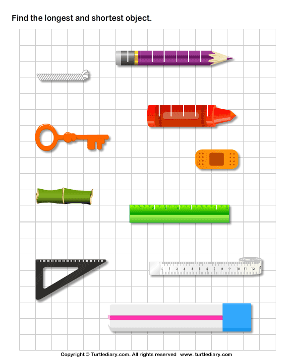 Find the Longest and Shortest Object Worksheet Turtle Diary – Long and Short Worksheets for Kindergarten