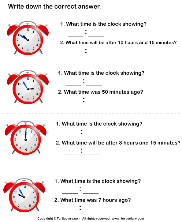 Find Time Given The Elapsed Time Worksheet Turtle Diary