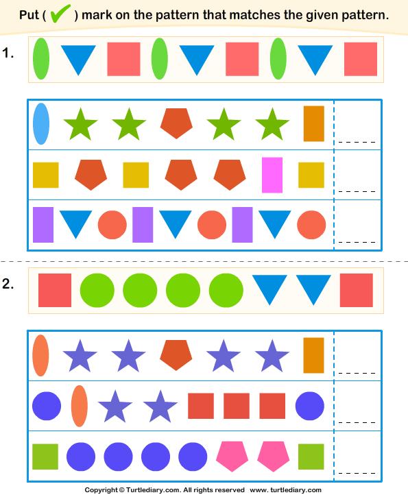 finding similar patterns worksheet turtle diary. Black Bedroom Furniture Sets. Home Design Ideas