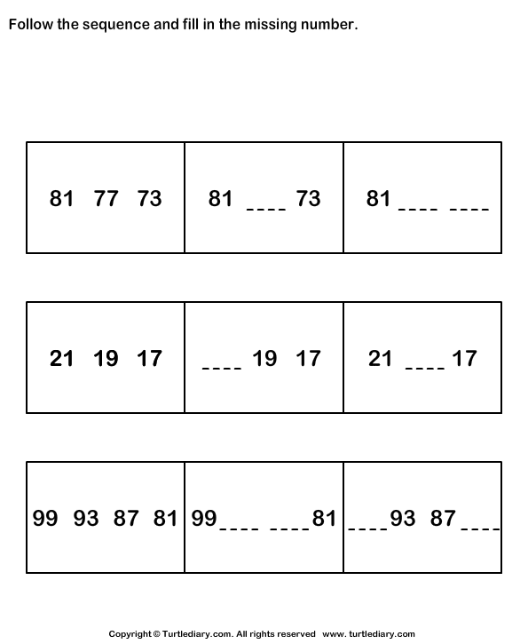 Free Worksheets Ordering And Sequencing Numbers Worksheets – Number Sequence Worksheets for Kindergarten