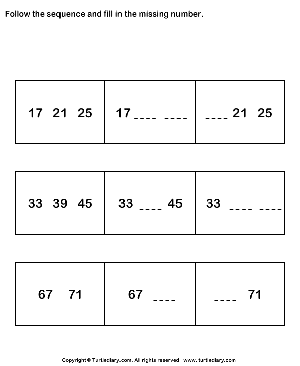 follow sequence and fill missing numbers worksheet turtle diary. Black Bedroom Furniture Sets. Home Design Ideas