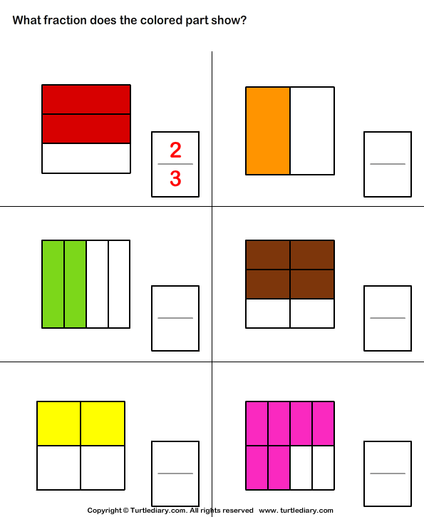 fraction corresponding to shaded part worksheet turtle diary. Black Bedroom Furniture Sets. Home Design Ideas