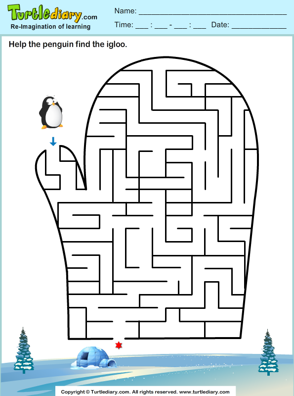 Glove Maze Worksheet - Turtle Diary