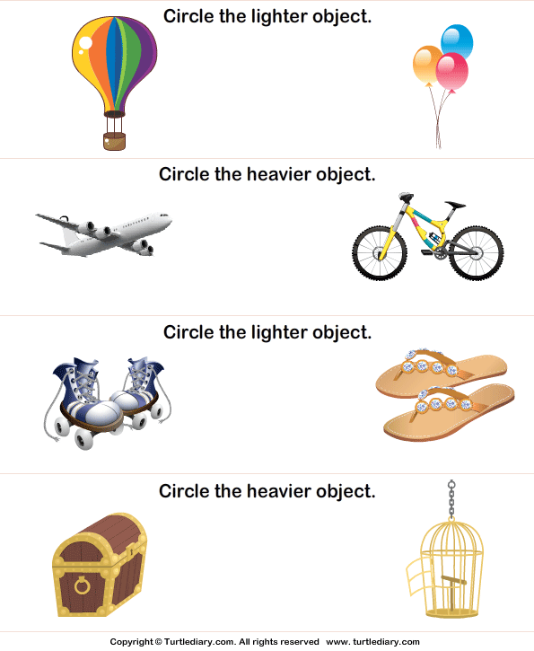 heavier or lighter circle the correct object worksheet