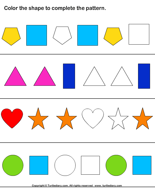 Number Names Worksheets simple patterns worksheets : Pattern Worksheets : simple pattern worksheets with shapes ~ Free ...