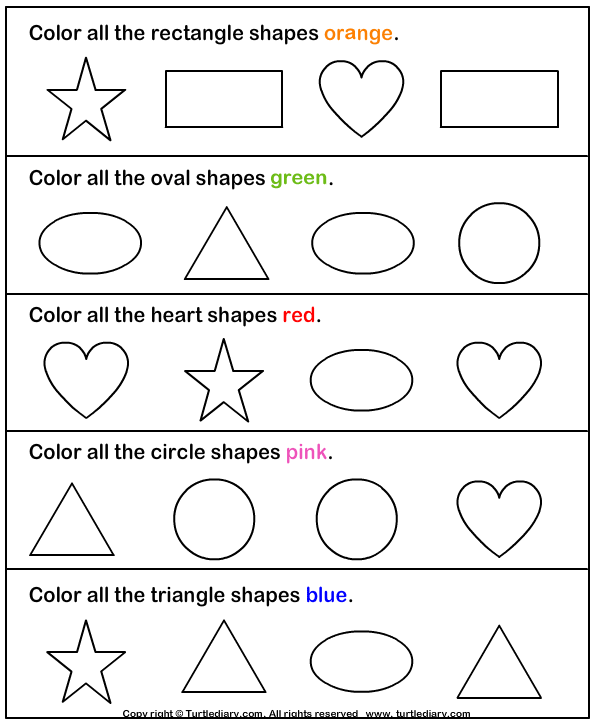 graphic regarding Printable Shapes Worksheets named Realize and Colour Designs Worksheet - Turtle Diary