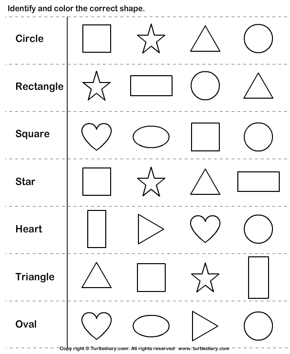 Identify and Color the Shape Worksheet - Turtle Diary