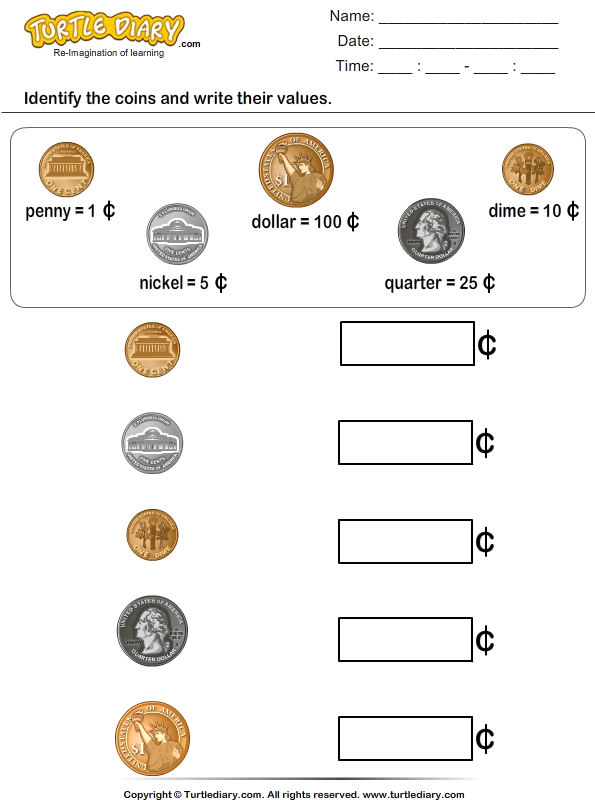 Identify Coins and Write their Values Worksheet Turtle Diary – Coin Worksheets for Kindergarten