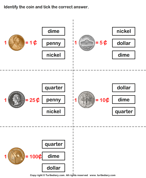 Identify Coins Worksheet Turtle Diary – Coin Worksheet