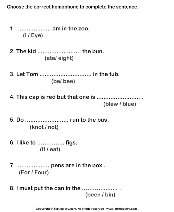 Printables Homonyms Worksheets identify homophone for the given sentence worksheet turtle diary complete sentences with correct homophone