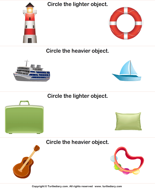 Identify Lighter and Heavier Object Worksheet - Turtle Diary