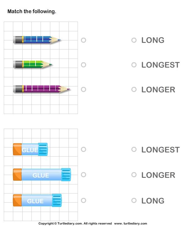Identify Long Longer Longest Object Worksheet Turtle Diary – Long a Worksheets Kindergarten
