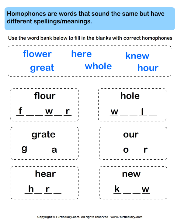 Fill in Letters to Complete the Homophone