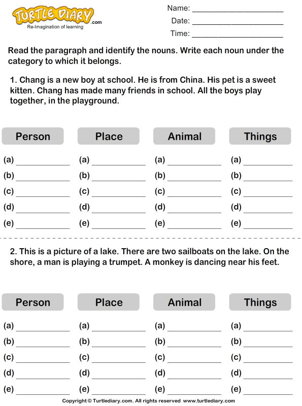 Find Nouns in a Paragraph