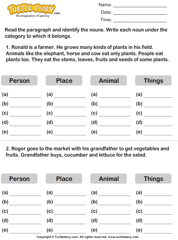 Identifying Nouns Worksheet