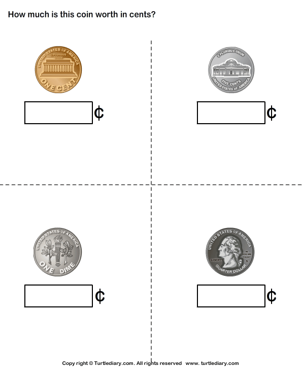 Identify Penny Nickel Dime Quarter Worksheet Turtle Diary