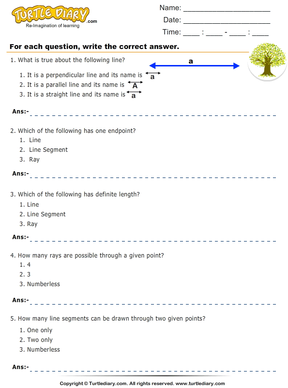 Lines, Line Segments and Rays : Multiple Choice Questions