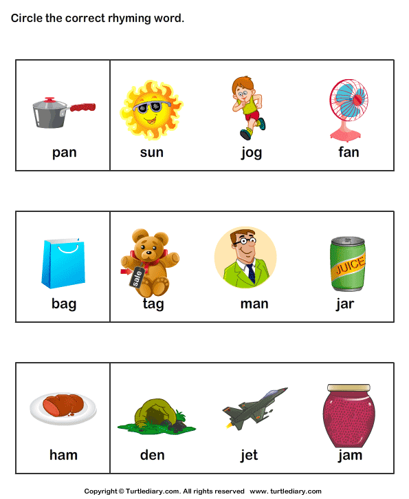 Identify Rhyming Words Worksheet Turtle Diary – Kindergarten Rhyming Words Worksheets