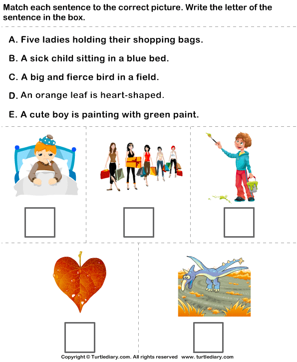 Identify Sentences to Describe Pictures