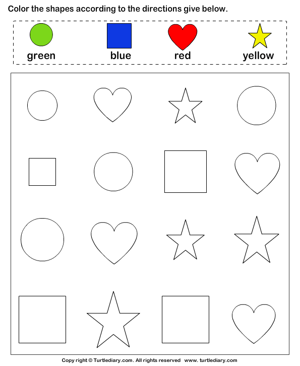 Identify shapes and color them worksheet turtle diary for Color by shape coloring pages