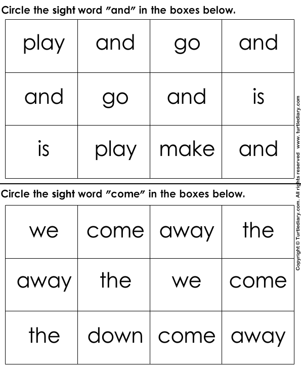 Identify Sight Words