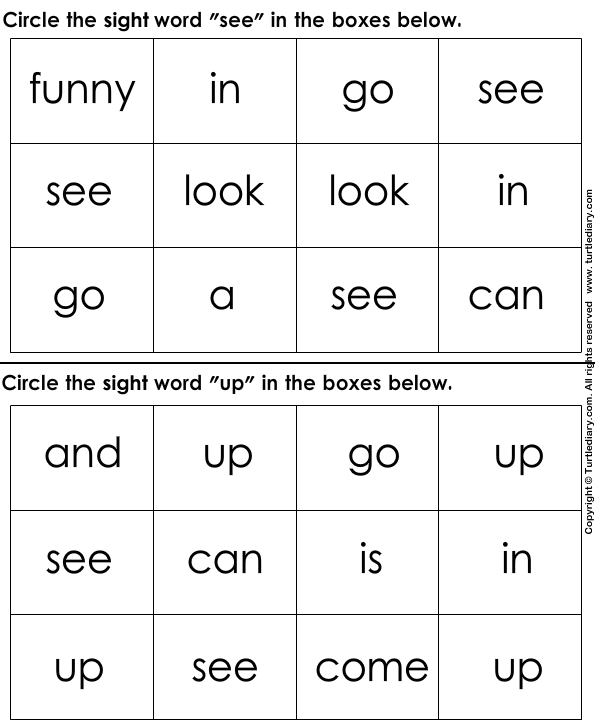 Identify Sight Words