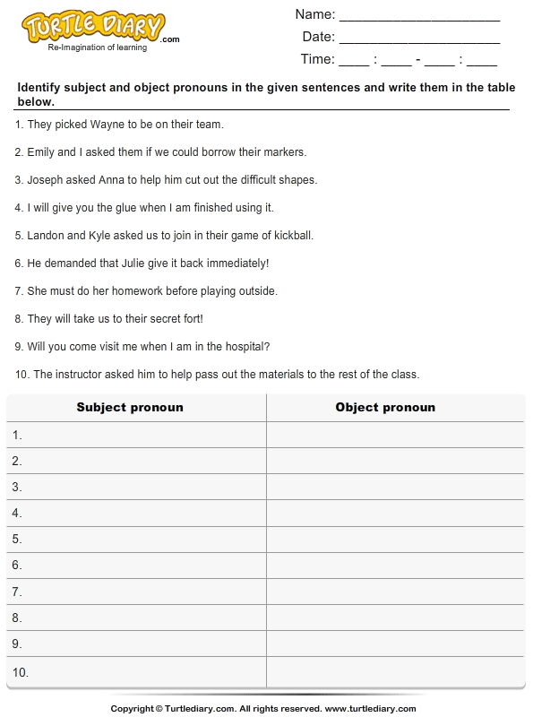 Identify and List the Pronouns