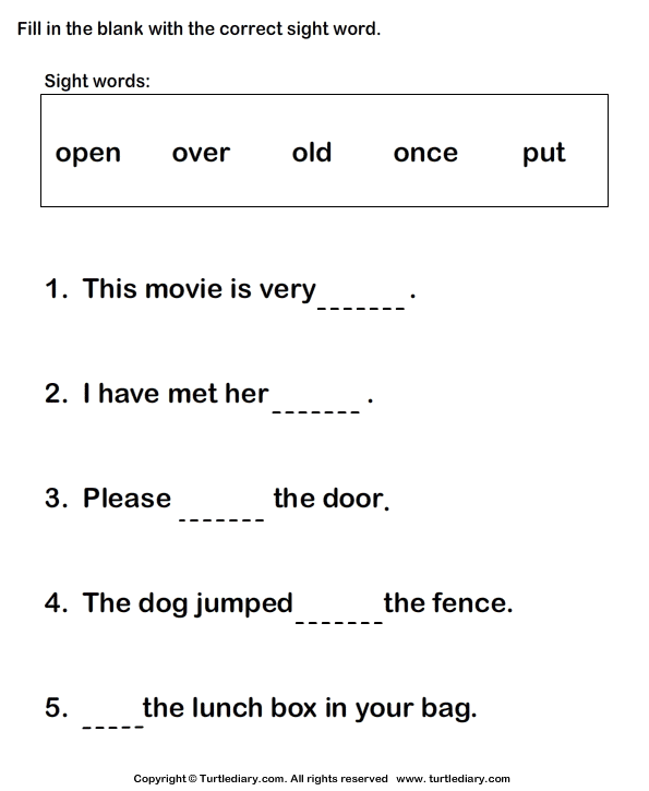 fill in the blanks using sight words worksheet turtle diary. Black Bedroom Furniture Sets. Home Design Ideas