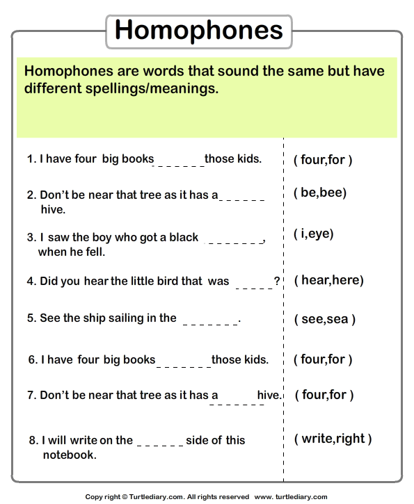 Identify the Homophone Worksheet Turtle Diary – Homonyms Worksheets