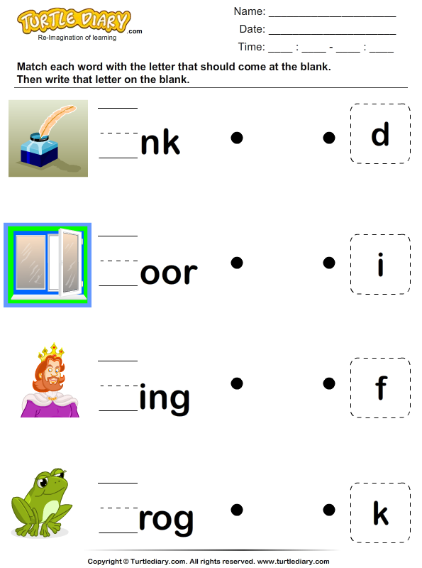Identify the Missing Letter Worksheet - Turtle Diary