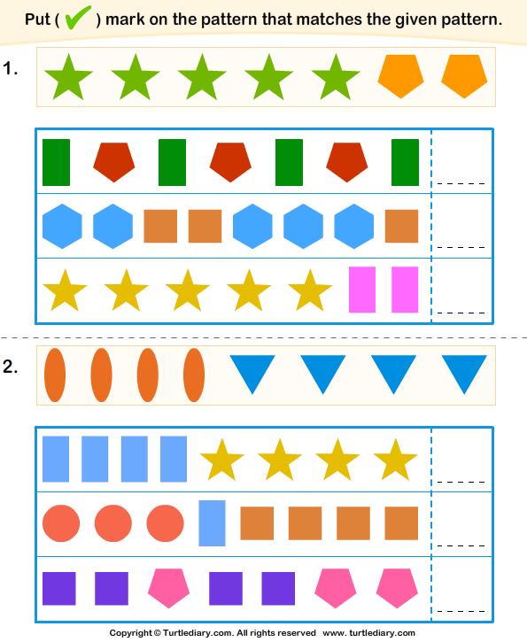 Identify The Similar Pattern Worksheet Turtle Diary
