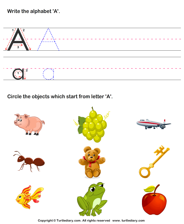 Identify Words That Start With A Worksheet