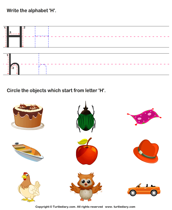 words that begin with the letter h identify words that start with h worksheet turtle diary 636