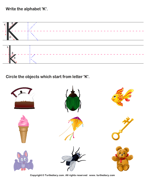 Identify words that start with k worksheet turtle diary identify words for letters a z sciox Images