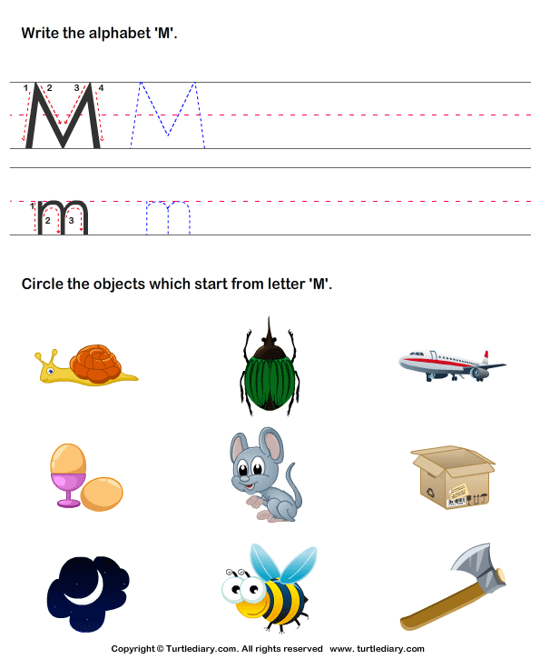 Identify Words That Start With M Worksheet Turtle Diary