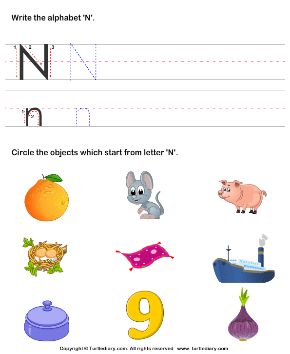 things that start with letter n identify words that start with n worksheet turtle diary 25253