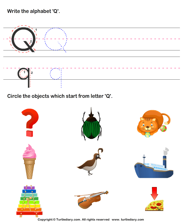 picture of objects that start with letter q crafts identify words that start with q worksheet turtle diary 972